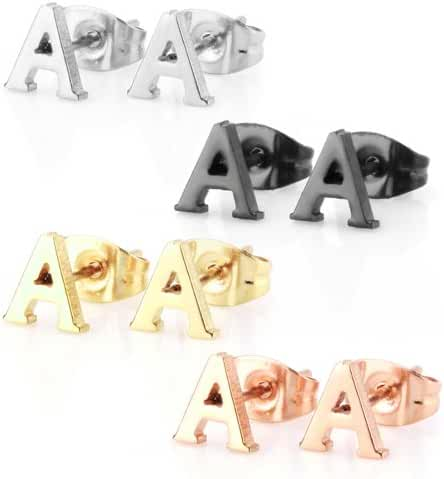 Stainless Steel Alphabet Letter Initial Stud Earrings Hypoallergenic Yellow Gold Rose Gold Black Plated
