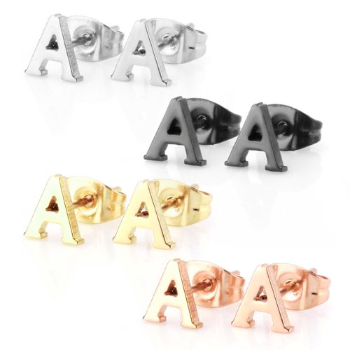 JewelrieShop Initial Letter Stud Earrings Hypoallergenic Alphabet A-Z Girls Earrings for Sensitive Ears