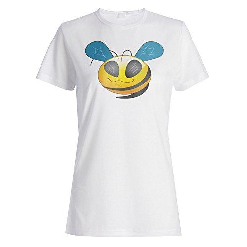 Smiley Biene Spaß Lächeln Gesicht Neuheit lustige Vintage Kunst Damen T- shirt a230f