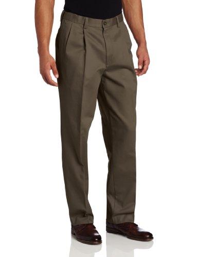 Savane Men's Pleated Performance Chino Pant, Shale, 32W x 34L
