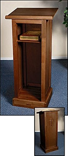 Maple Hardwood Standing Full Lectern with Shelf in Walnut Stain Finish, 44 Inch