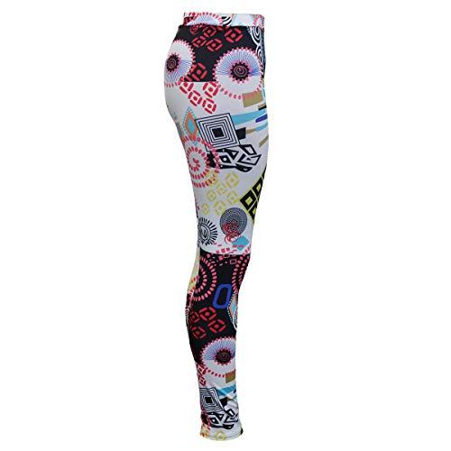 alta alta a allenamento floreale White Pantaloni sportivi con vita vita lunghi da a stampa attillati qwF1aO0