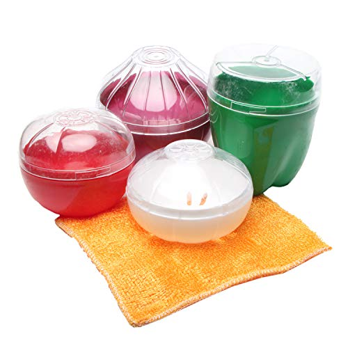 Set of 5 Reusable Food Savers Storage Containers Food Grade Plastic with Seal Lids for Corn Garlic Green Pepper and ()