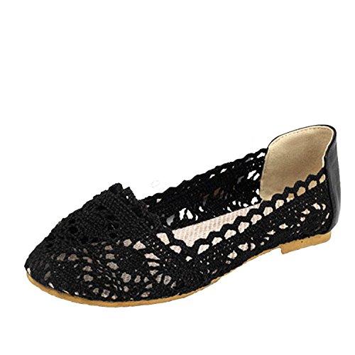 Nonbrand Women's Summer shoes lace flat sandals ballerinas ballet flats Black 0XSQc9I6l