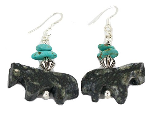 $100Tag Fetish Horse Silver Hooks Certified Navajo Turquoise Native Earrings 18268 Made By Loma Siiva