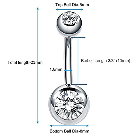Silver Coolrunner 10 Pack Belly Button Ring 14G Navel Piercing Body Jewelry for Women and Girls
