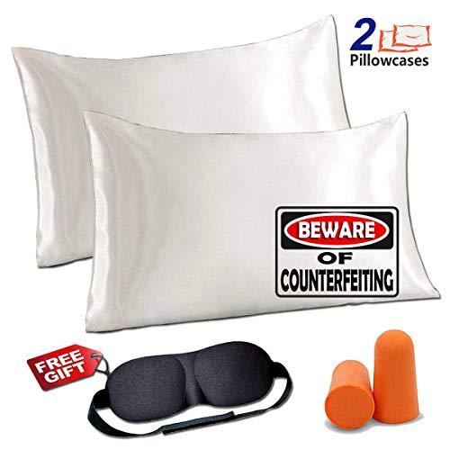 (JINHONGRUI Silk Satin Pillowcase for Hair and Skin, Facial Beauty Hypoallergenic, No zipper Pillowcase Covers, Standard, Queen, King Size Pillowcase Set of 2 Pillow Bulk (Standard, White-2 Pack))