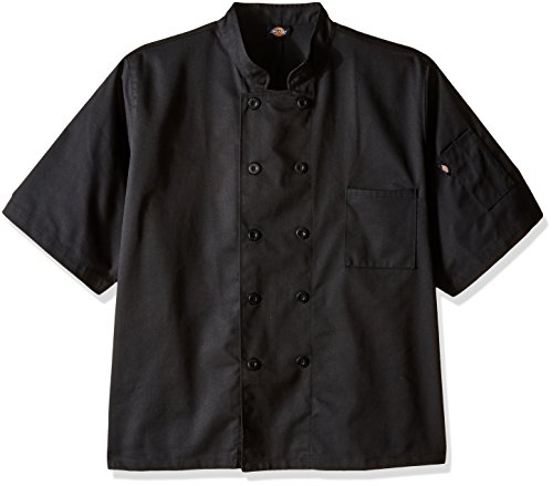 - Dickies Chef Classic 10 Button Short-Sleeve Coat, Black, XX-Large