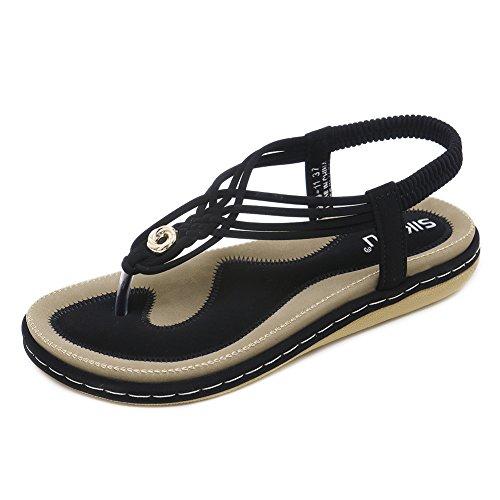 41 QXXC Spiaggia Toe 11 Primo Sandali KJJDE Scarpe Intreccio 26 Infradito Clip Scarpe Piatte Incrociato Black Boemia Da nT6F1FUWSq