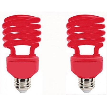 SleekLighting 23 Watt T2 RED Light Spiral CFL Light Bulb, 120V, E26 Medium Base-Energy Saver (Pack of 2)