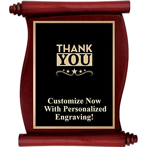 Engraved Plaque Rosewood - Custom Engraved Rosewood Scroll Plaques, Personalized Employee Thank You Plaque Award with Up to 5 Lines of Engraving Included