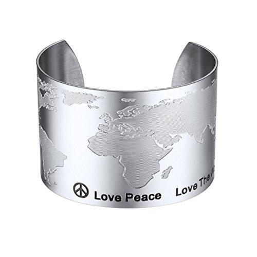 PROSTEEL World Map Statement Bracelet Travel Bracelet Love Peace Jewelry Stainless Steel Fashion Big Wide Bangles for Men Women ()