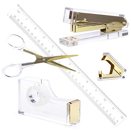 Gold Acrylic Lucite Bundle | Premium Stapler, Tape Dispenser, Scissors, Staple Remover, Ruler | Clear Stationery & Desk Accessories for Everyday Office Needs | Modern, High End, Chic, Luxury Goods