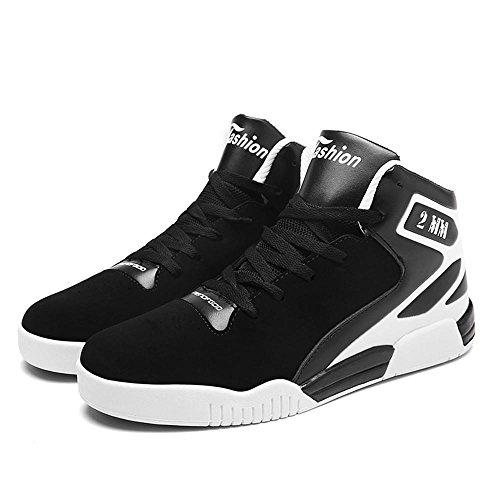 Scarpe da basket scarpe sportive Scarpe da corsa Scarpe da passeggio Scarpe da uomo traspirante Assorbimento degli urti Cuscino d'aria High-top Sport all'aria aperta Usura antiscivolo , Black , UK 7.5