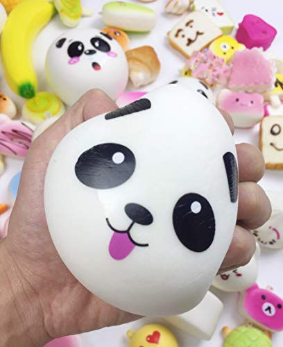50 Pcs Kawaii Squishies Slow Rising Jumbo/Medium/Mini Random Cake Bread Panda Bun with Phone Straps Kids Pretend Play ibloom squishy by Originnt