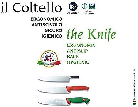 Desconocido Sanelli Línea Premana Professional,Cuchillo Jamón 24,Acero Inoxidable,Verde y Rojo,37.0x3.0x4.0 cm