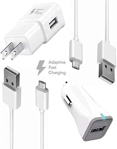 Samsung Galaxy S7 Edge / S7 / Note 5 / Galaxy S6 Fast Charger {Wall Charger + Car Charger + 2 Cables} True Digital Adaptive Fast Charging uses dual voltages for UP to 50% FASTER CHARGING! by BOXGEAR