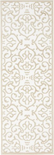 Unique Loom Rushmore Collection Traditional White Tone-on-Tone Snow White Runner Rug (2' x 6')