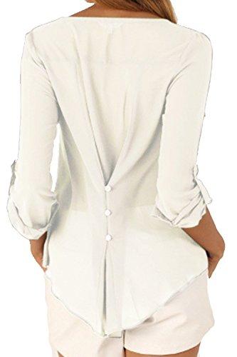 Las Mujeres Con Cuello En V Gasa Blusa De Verano Camiseta Sin Mangas White