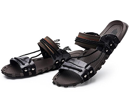 W&XY Leather Sandals Summer Mens XL with anti-slip shower bath slippers 40