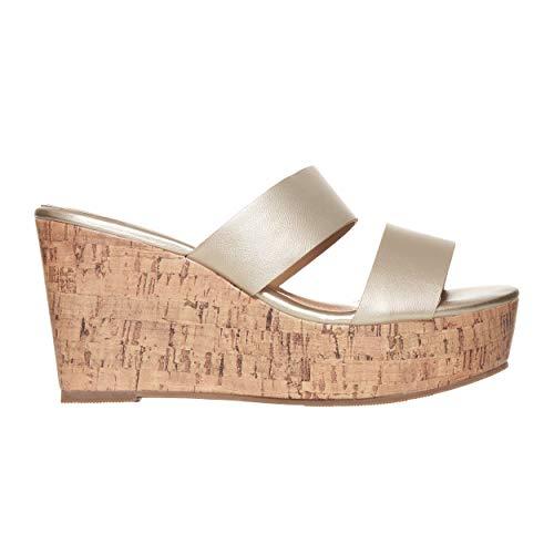 Rohb by Joyce Azria Casablanca High Heel Platform Wedge Slip On Sandal (Gold) Size -