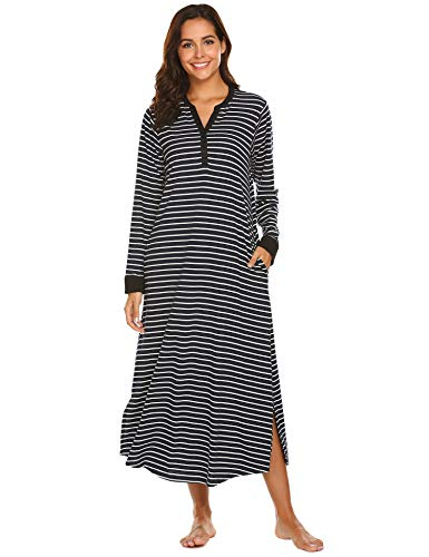 65cd020b581 Ekouaer Long Loungewear, Warm Nightgown Caftan Sleeping Dress (Black  Stripe, Small)