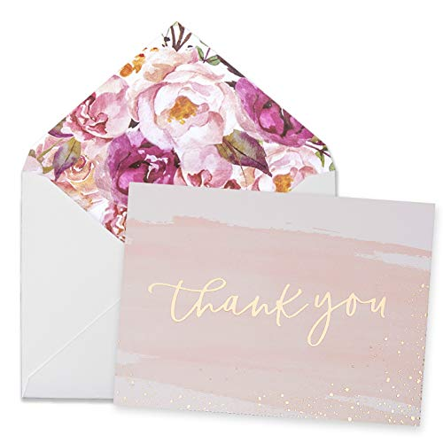 (Thank You Cards-48 Bulk Blank Gold Foil&Watercolor Bulk Box Set with Elegant Floral Envelopes &Stickers for Wedding, Baby Shower, Bridal Shower, Business, Anniversary, Funeral -4