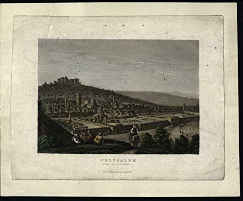 Jerusalem Holy Land panoramic birds-eye view c.1840 miniature print hand color