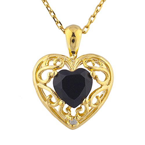 Genuine Black Onyx & Diamond Love Design Heart Pendant 14Kt Yellow Gold Plated Over .925 Sterling Silver ()