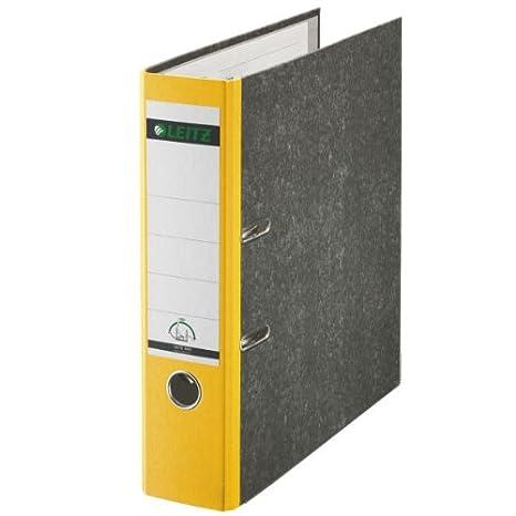 Leitz 10505035 - Archivador (A4, con palanca, capacidad: 350 hojas), color amarillo, lomo 80mm: Amazon.es: Oficina y papelería