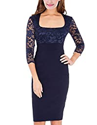 ANNNThe new style lapel 3/4 sleeve lace retro cocktail evening dress (Large, Deep Blue)