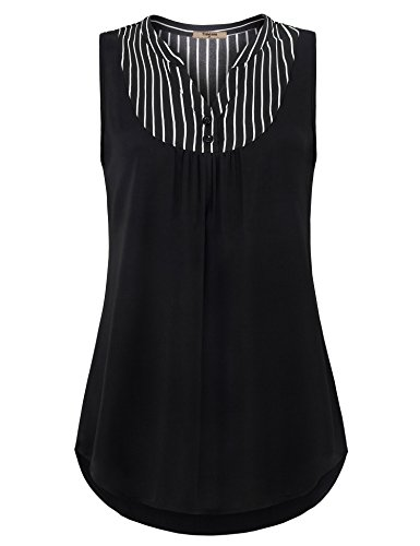 Stripe Henley Tank - Timeson Summer Blouses for Women, Junior Flattering Black Stripe Tank Tops Sleeveless Lightweight Cool Chiffon Blouses V Neck Casual Henley Shirt for Business Work Black XX-Large