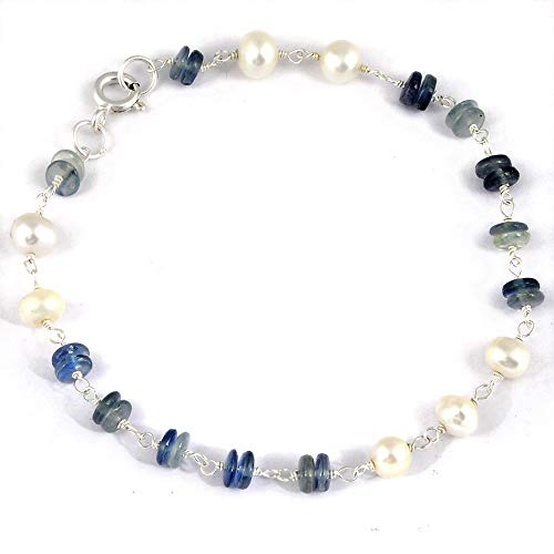 Orchid Jewelry 9.75 Ct Multi Color Beads Sapphire and Pearl 925 Sterling Silver Bracelet for Women: Nickel Free Beautiful and Stylish Birthday Gift for Mother and Wife