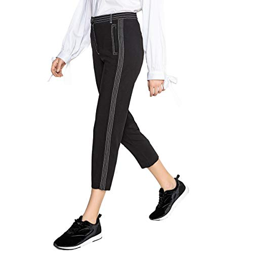 La Collections Redoute Nero Pantaloni Donna Pinocchietto In Twill A Slim 4r4q56wxg