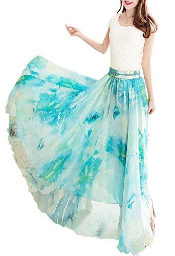 Afibi Maxi Chiffon de Women Mix Silk Falda Retro Long Vestido SnOSrqwYa1