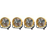 Maxxair BF24TFYELUPS High Velocity Air Movement Two Speed Portable Air Circulator Fan, 24-Inch, Yellow (4-(Pack))