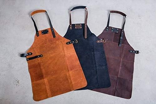 Tablier de Cuisine BBQ en Cuir Cadeau Homme Chef Barbecue LUXE