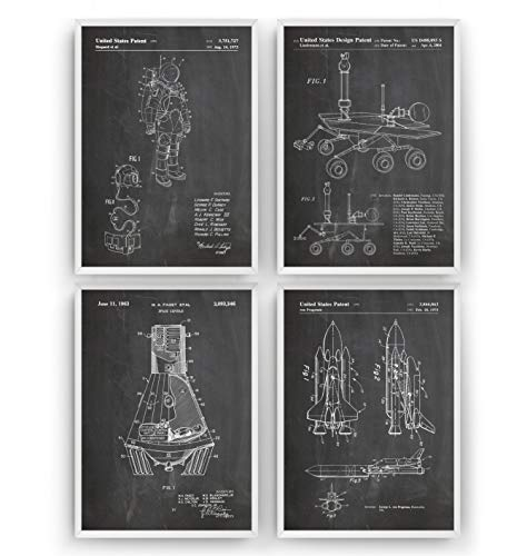 Outer Space Patent Print - Set Of 4 - Nasa Science Poster Gift Astronaut Vintage Blueprint Spaceship Aerospace Wall Art Bedroom Sci-Fi Fan Decor Merchandise Rocket Geek Nursery - Frame Not Included