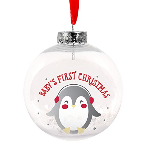 (Lil Peach Baby's First Christmas Penguin Snow Globe Holiday Keepsake Ornament, Red and Silver)