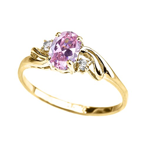 Exquisite 14k Yellow Gold Oval-Shaped October Birthstone with White Topaz Proposal Ring (Size 7.25)
