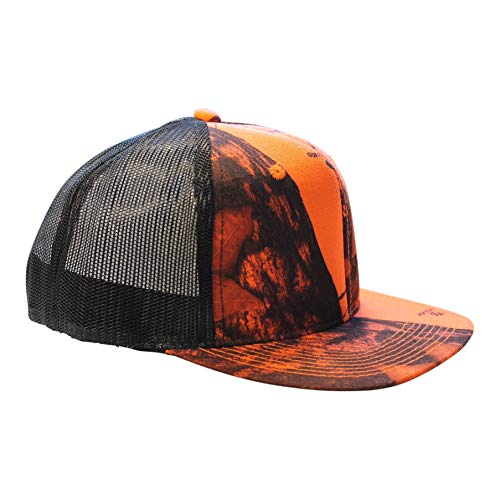 Mossy Oak Blaze Cap Trucker Style Mesh Snapback Hat Orange Camo Blaze Orange Camo Cap