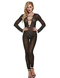 V Neck Long Sleeve With Mesh & Sequin Rhinestone Jumpsuit