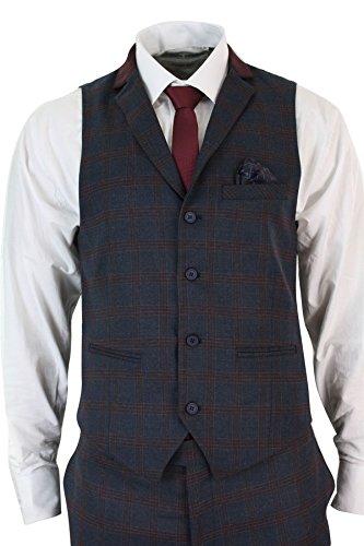 Cintrée Homme Vintage Et Tweed Carreaux Costume Gilet Bleu À XpwIqqTx7