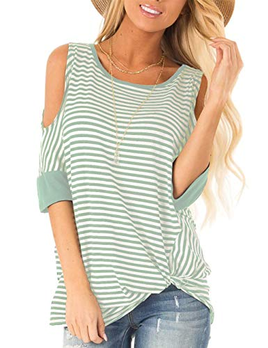 (SMALNNIE Women's Cold Shoulder Tops and Blouse for Work Short Sleeve Stripe T Shirts Lake Green M)