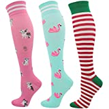fenglaoda Christmas Compression Socks(20-30 mmHg, Knee High Best Support Stockings Colorful Novelty Socks for Gift Present Women Lady 3 Pairs (3 Pack - Xmas2/cat/flamingo)