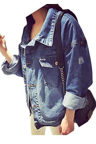 Blu Cowboy Breasted Lanceyy Moda Petto Outwear Grazioso Tasche Fibbia Primaverile Autunno Donna Cappotto Jacket Giacca In Forti Sul Elegante Frontali Stlie Metallo Taglie Jeans Azzurro rZCqvBrxw1