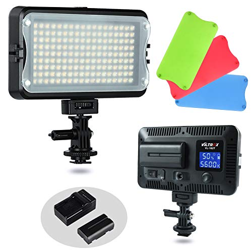 VILTROX VL-162T CRI95+ LED Video Light, Portable Camera Photo Light Panel Dimmable for DSLR Camera Camcorder with Battery, Charger, High Brightness, 3300K-5600K Bi-Color, White Filter and LCD Display (Best Portable Led Light For Photography)