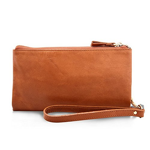 Fold Strap Tan Bi H amp;W Wrist Tan With Zipper Wallet Real Leather 4AWFWIq