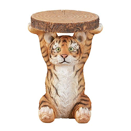 Collections Etc Tiger Cub Faux Log Accent Table, Hand-Painted Side Table for Storage in Living Room or Bedroom, Yellow