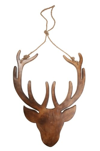 Large Contemporary Wooden Hanging Stag Head Wall Decoration